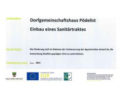 Gemeinde Freyburg (Unstrut) OT Pödelist - DGH Pödelist - Errichtung von Sanitäranlagen